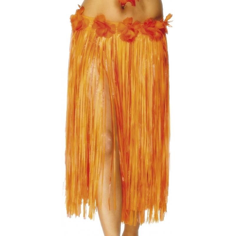 Oranje Hawaii verkleed rokje met bloemen