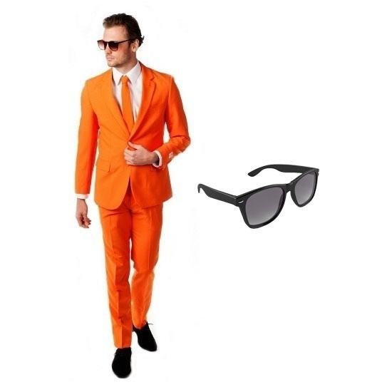 Oranje heren kostuum maat 50 (L) met gratis zonnebril