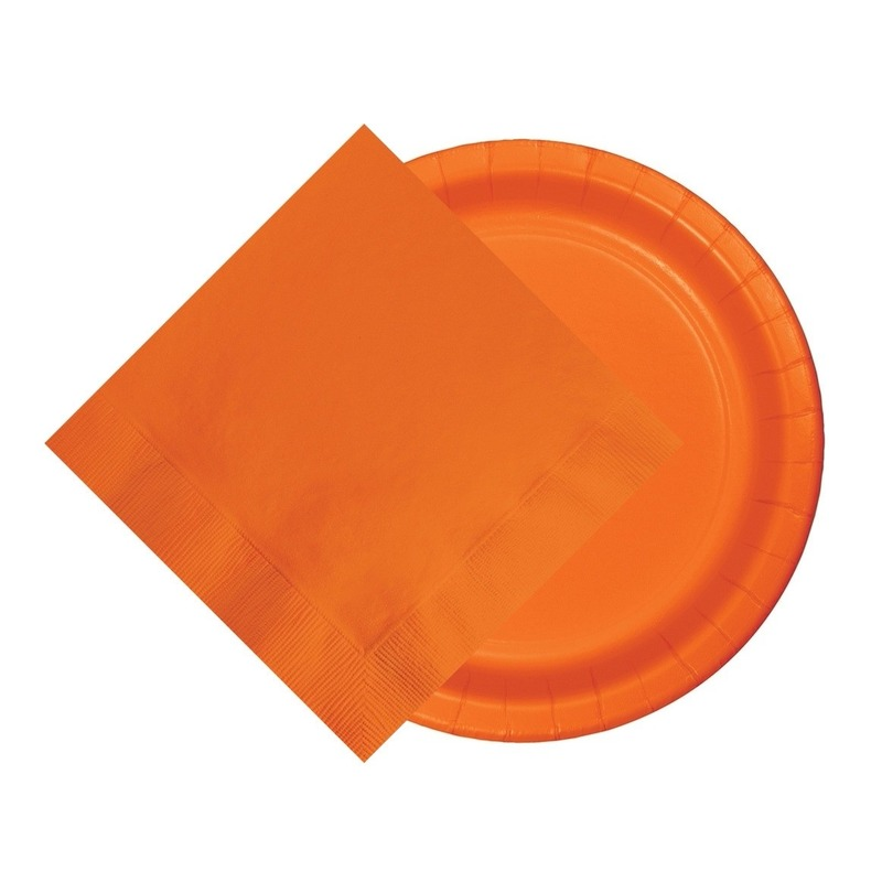 Oranje/Holland thema tafeldecoratie 8 bordjes en 20 servetten