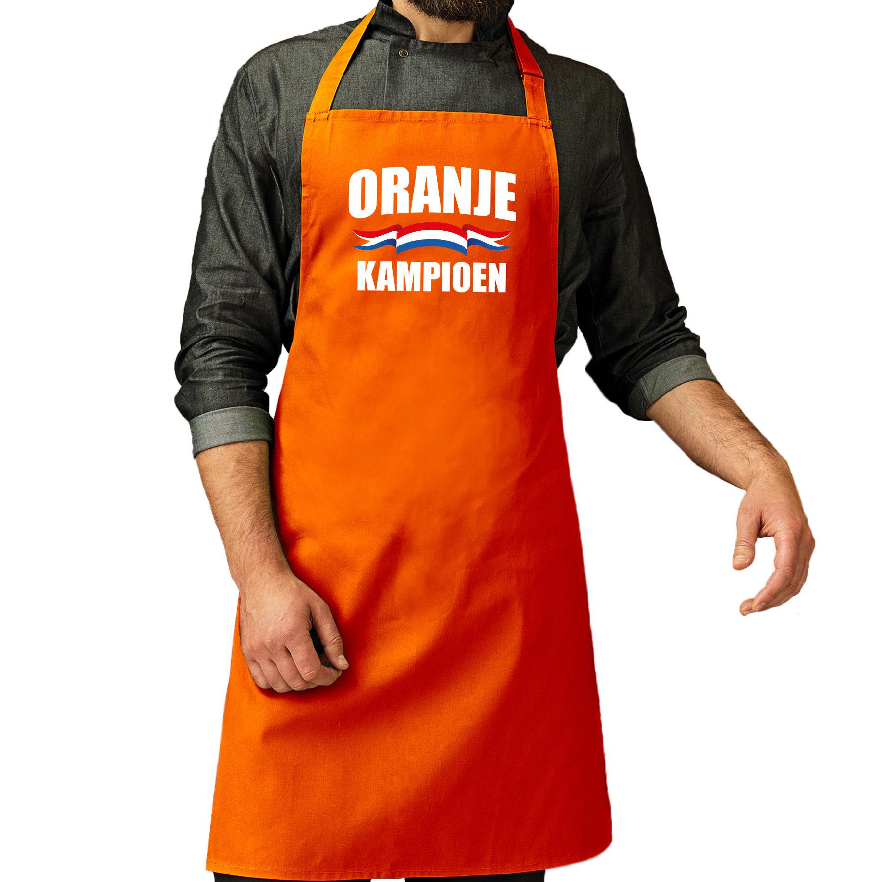 Oranje kampioen katoenen cadeau schort oranje EK/ WK voetbal voor dames en heren