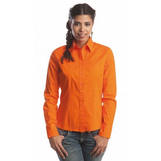 Oranje katoenen blouse voor dames met lange mouwen