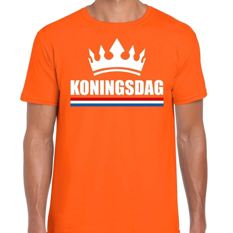 Oranje Koningsdag met kroon shirt heren