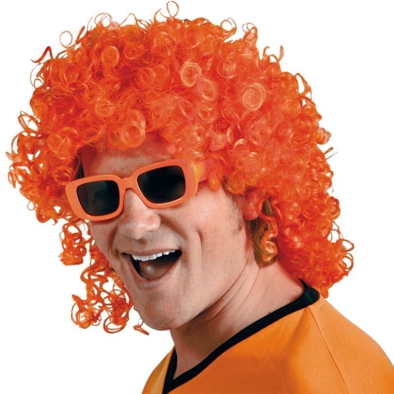 Oranje krullenpruik