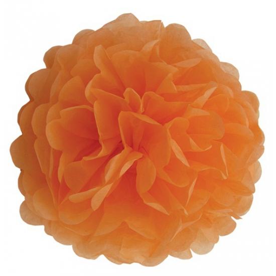 Oranje pompom van papier 35 cm