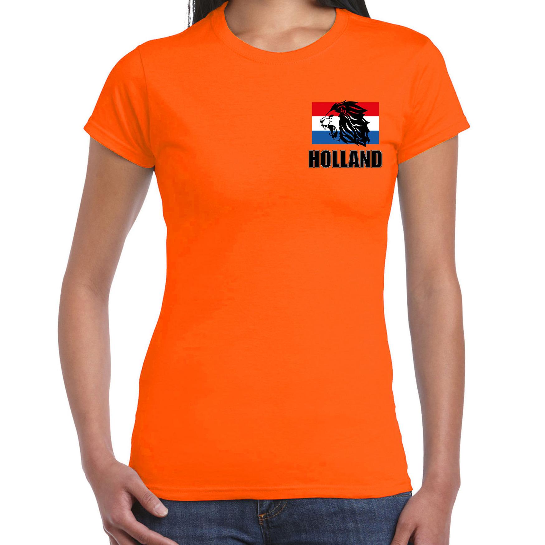 Oranje shirt met brullende leeuw embleem op borst heren - Holland supporter shirt EK/ WK