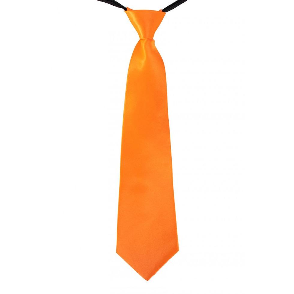 Oranje stropdas 40 cm verkleedaccessoire voor dames/heren