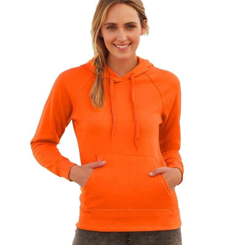 Oranje sweater/hoodie met capuchon voor dames