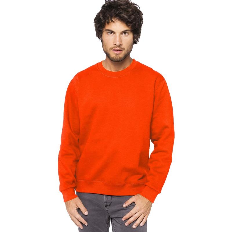 Oranje sweater/trui katoenmix voor heren