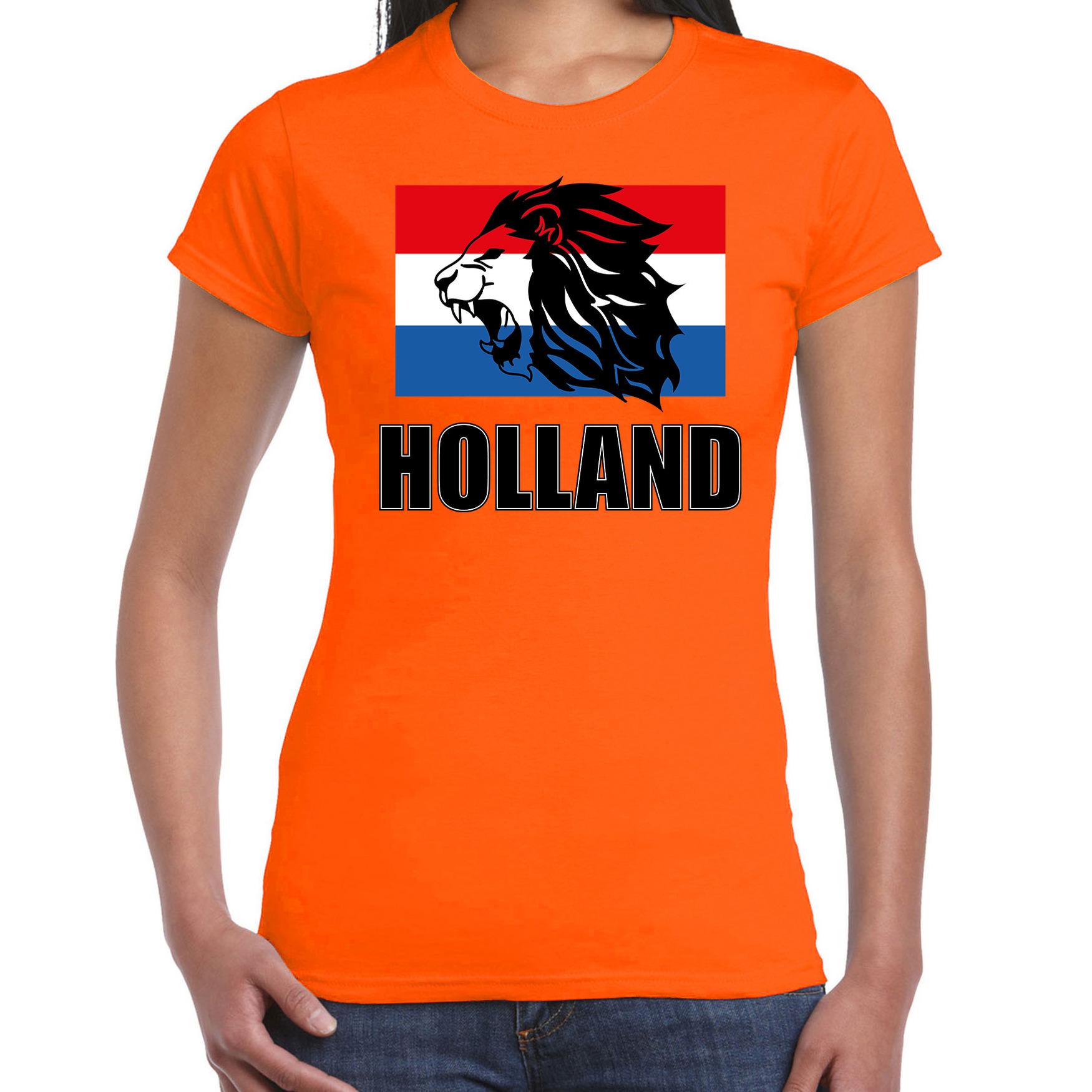 Oranje t-shirt Holland met leeuw voor dames - Holland - Nederland supporter shirt EK/ WK