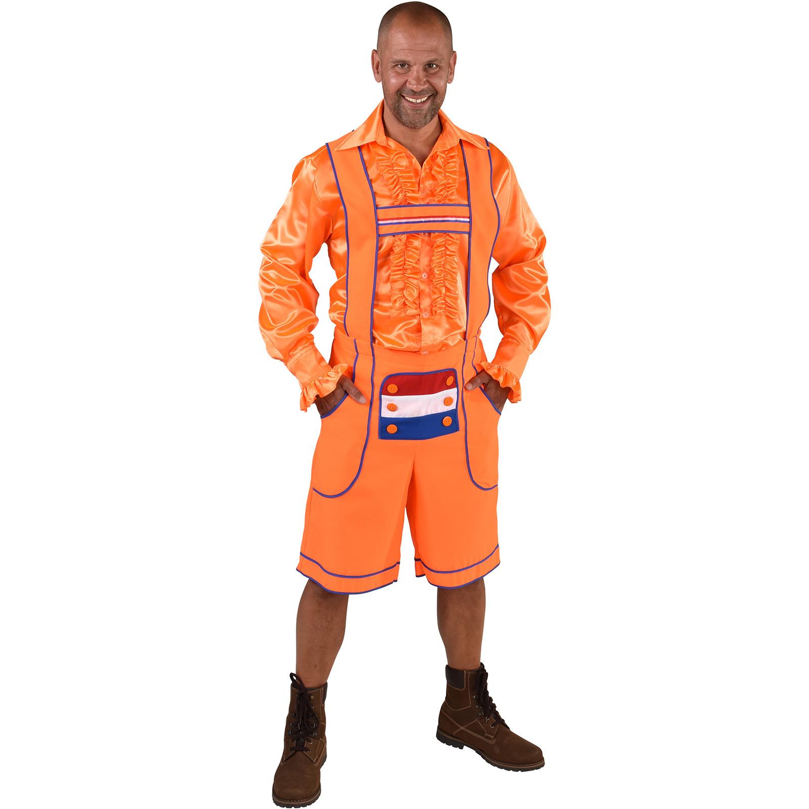 Oranje Tiroler broek - lederhosen verkleedkleding