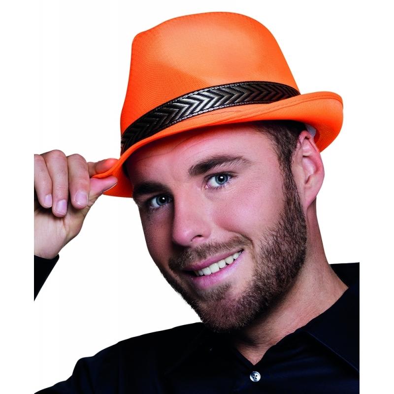 Merkloos Oranje trilby hoed voor volwassenen