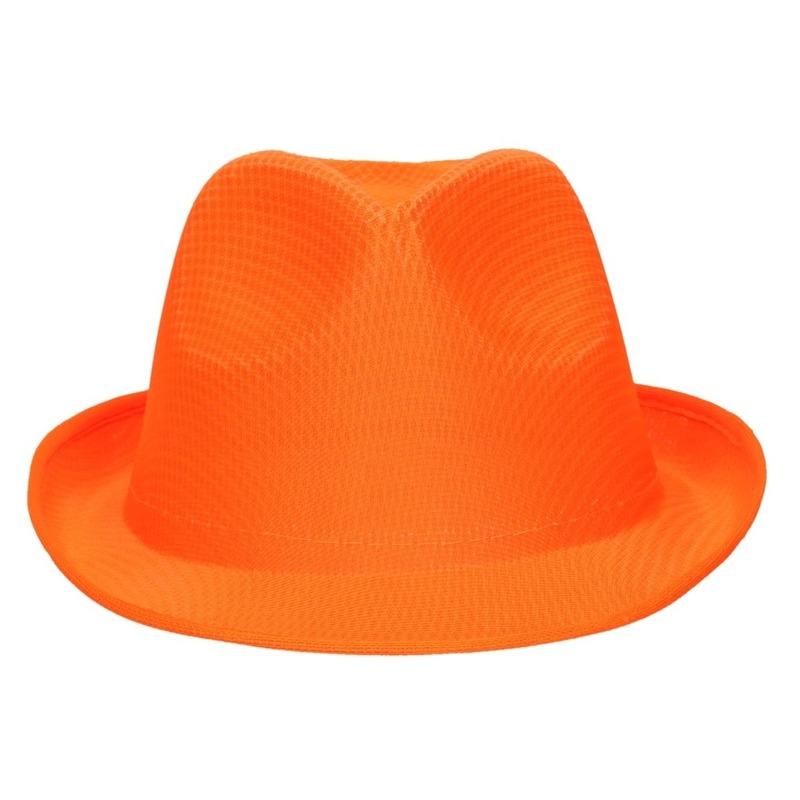 Oranje trilby verkleed hoedje/gleufhoed voor volwassenen