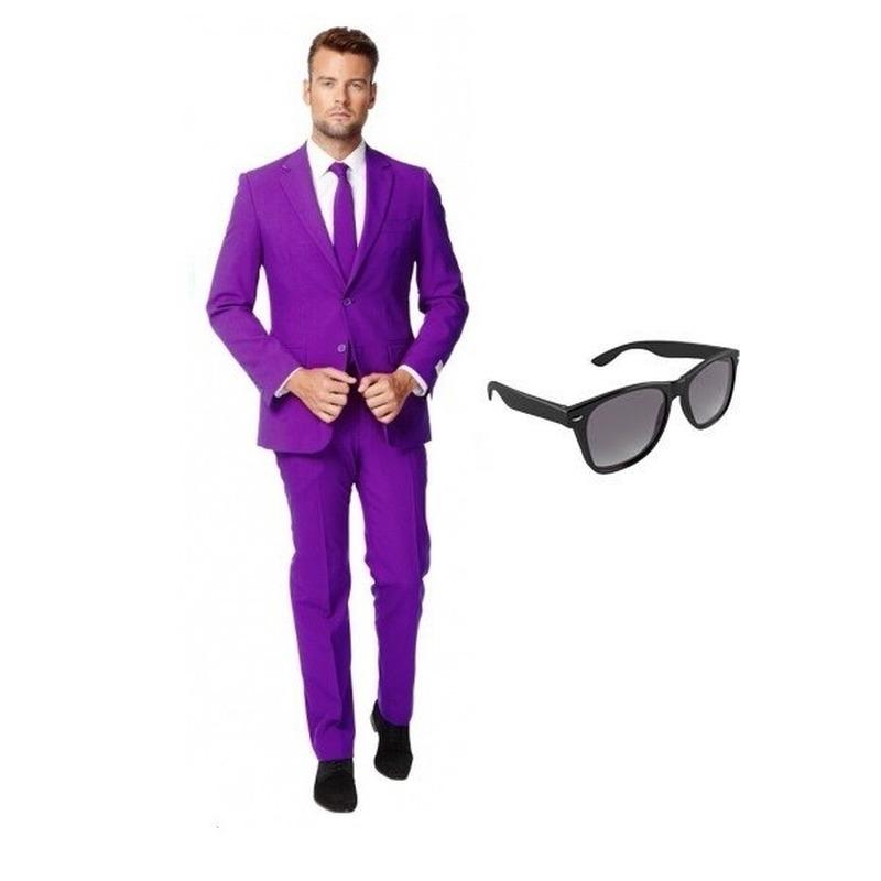 Paars heren kostuum maat 48 (M) met gratis zonnebril