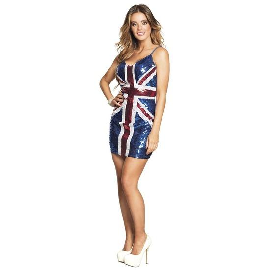 Pailletten jurkje met UK/Engeland vlag print