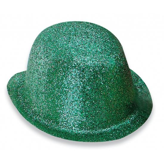 Merkloos Party bolhoedje met groene glitters
