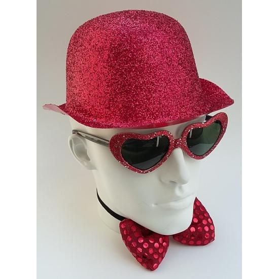 Merkloos Party bolhoedje met rode glitters