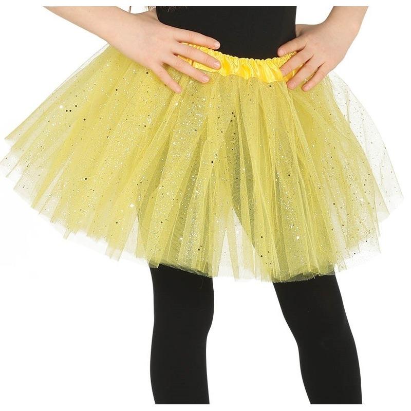 Petticoat/tutu verkleed rokje geel glitters 31 cm voor meisjes