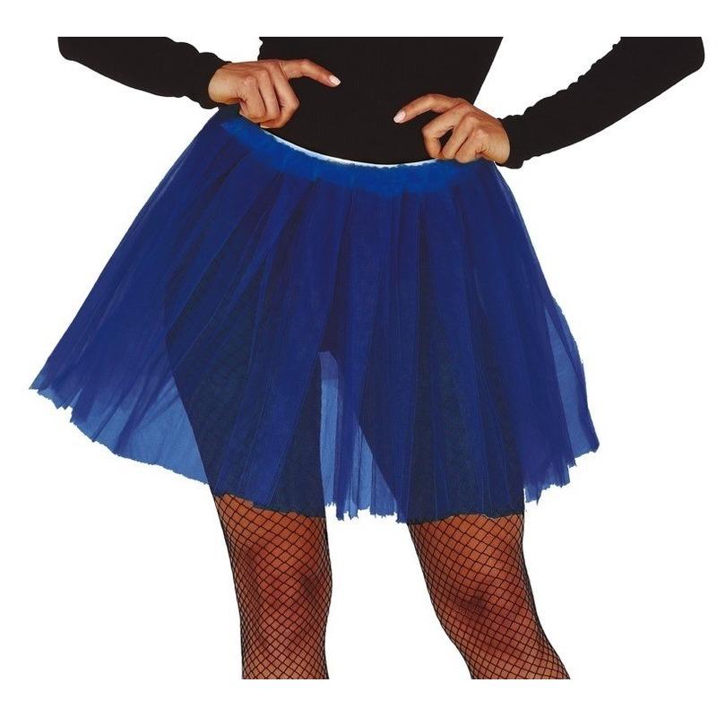Petticoat/tutu verkleed rokje kobalt blauw 40 cm voor dames