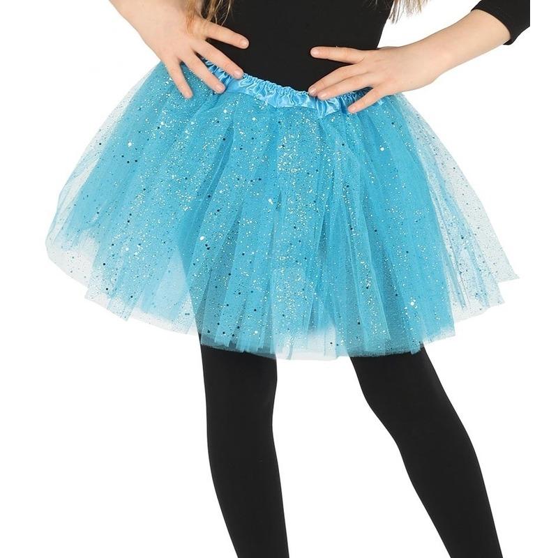 Petticoat/tutu verkleed rokje lichtblauw glitters voor meisjes