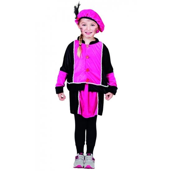 Merkloos Pietenkostuum roze jurkje voor Sinterklaasviering