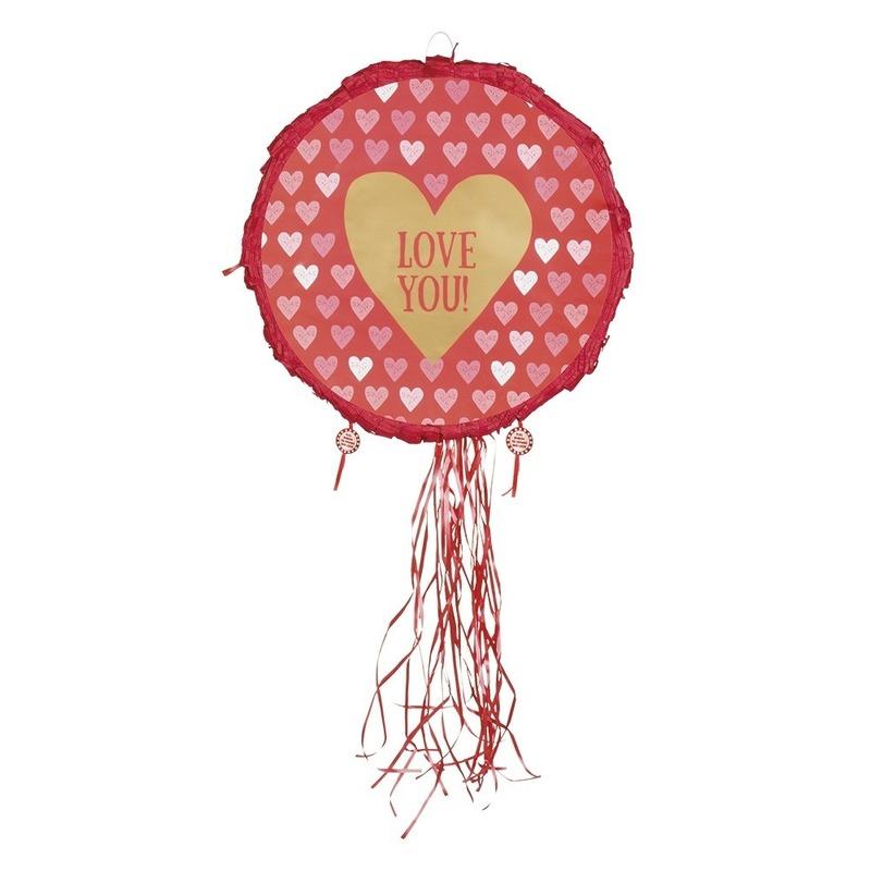 Pinata rond met rode hartjes 40 cm
