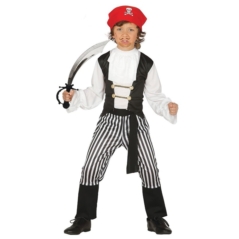 Piraten kostuum maat 128-134 met zwaard voor kinderen