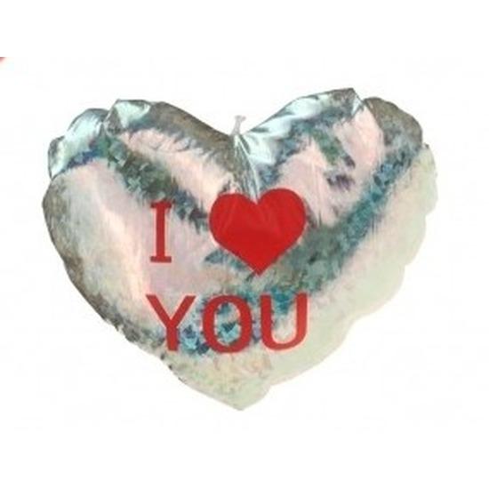 Pluche glimmend zilver hart kussen I Love You 14 cm
