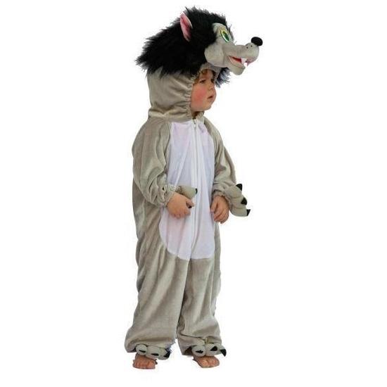 Pluche grijze wolven kostuum voor kids