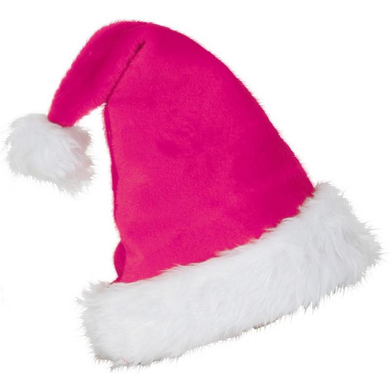 Pluche roze kerstmuts voor volwassenen