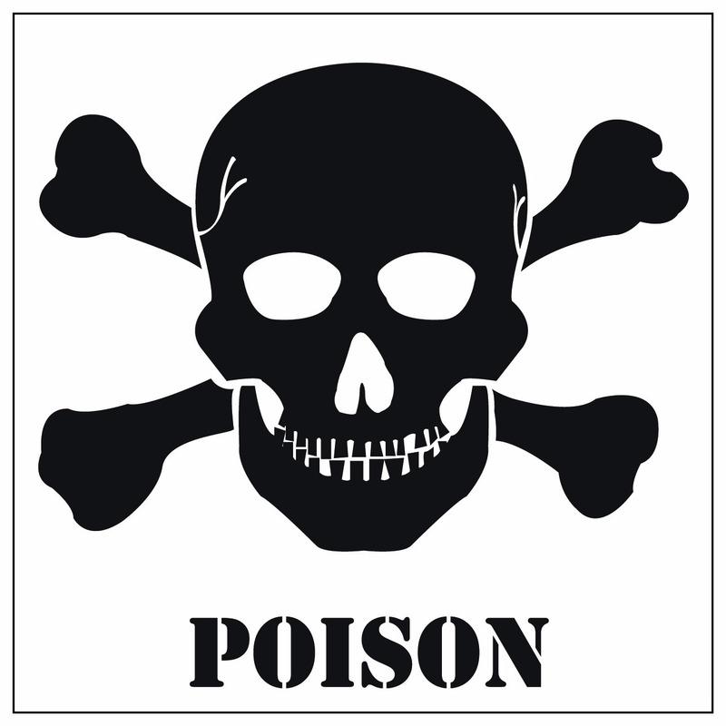 Poison gevaren sticker 10,5 cm