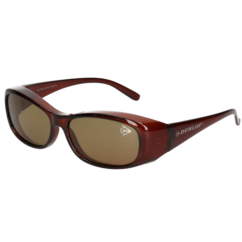 Polarized overzetbril/zonnebril donkerbruin voor volwassenen