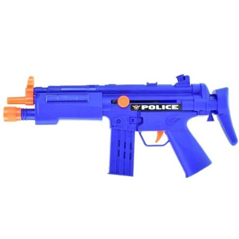Politie speelgoed wapen MP5 blauw met ratel geluid 37 cm