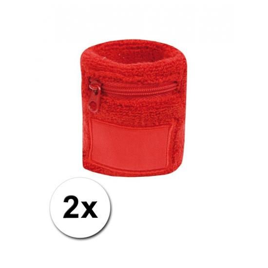 Pols zweetbandje met rits rood 2x