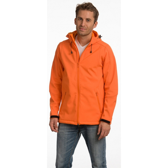 Polyester herenjack oranje met capuchon