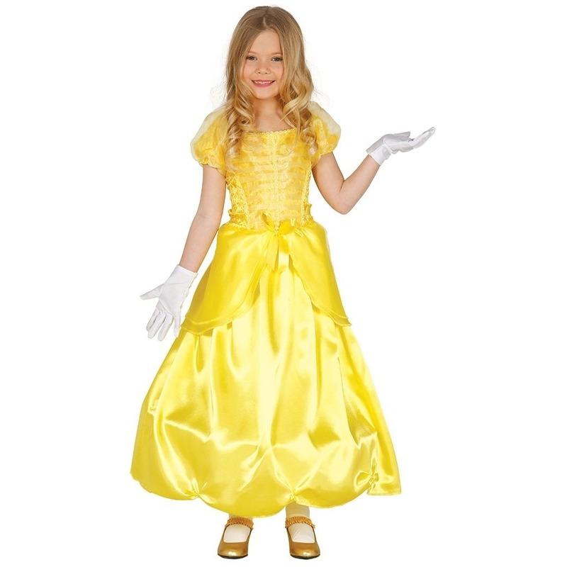 Merkloos Prinses verkleed jurk/kostuum geel voor meisjes