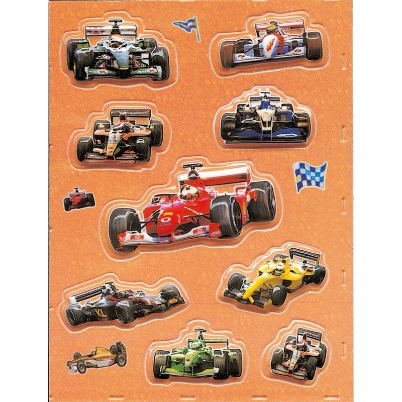 Racewagens 3D stickers 1 vel
