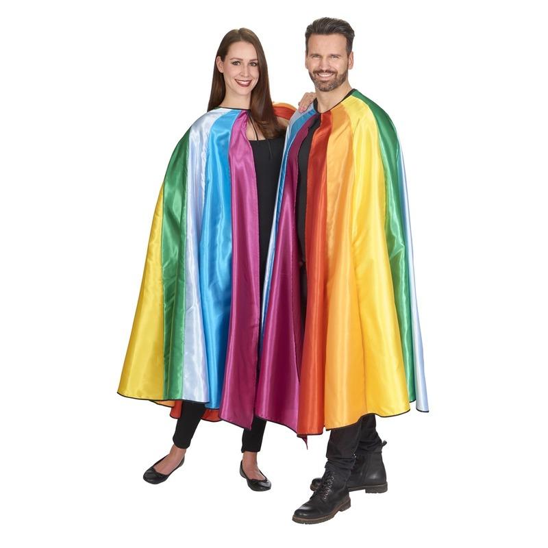 Regenboog verkleed cape voor volwassenen
