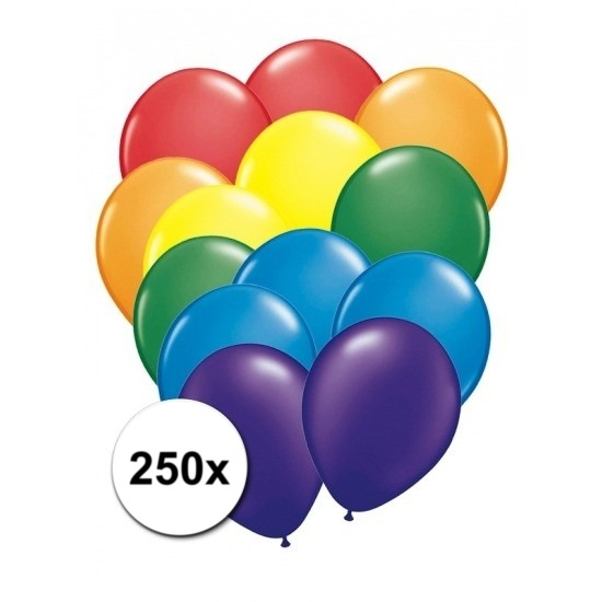Regenboogkleur ballonnen 250 stuks