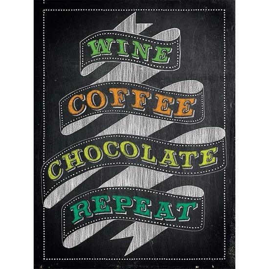 Retro muurplaatje Wine Coffee Chocolate Repeat 15 x 20 cm
