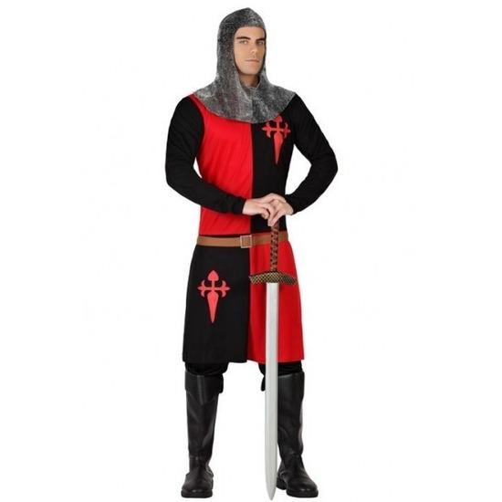 Merkloos Ridder verkleed kostuum zwart/rood voor heren