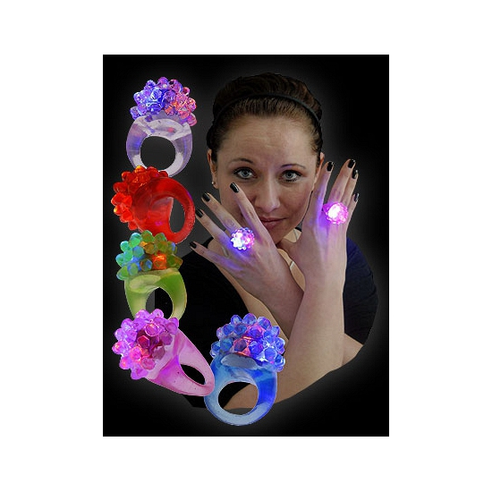 Ring met LED knipperlicht transparant