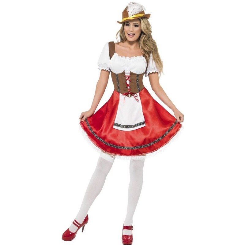 Rode/bruine Tiroler dirndl verkleed kostuum/jurkje voor dames