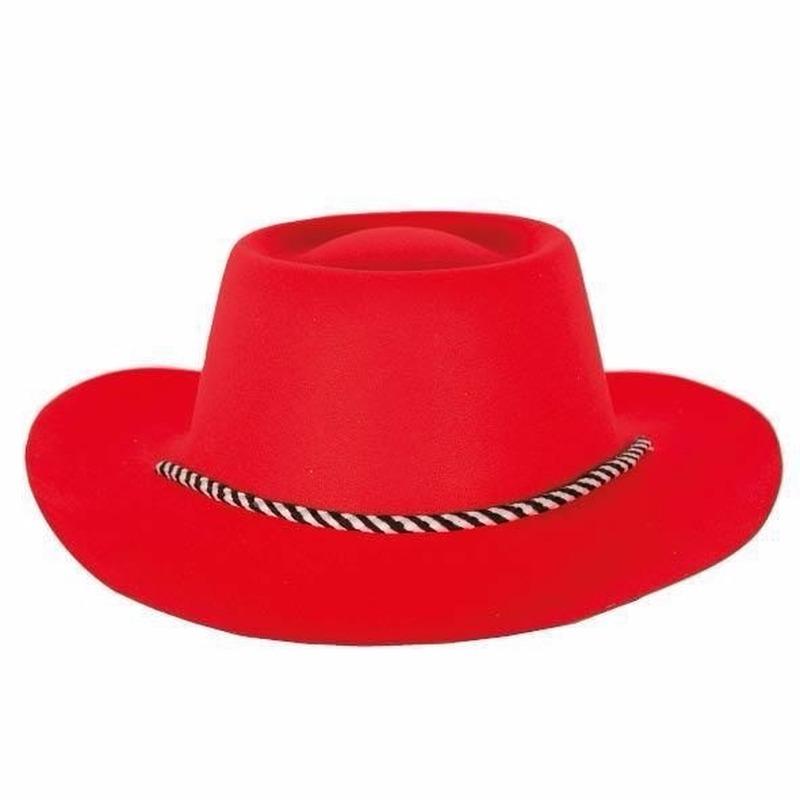 Merkloos Rode cowboyhoed voor volwassenen