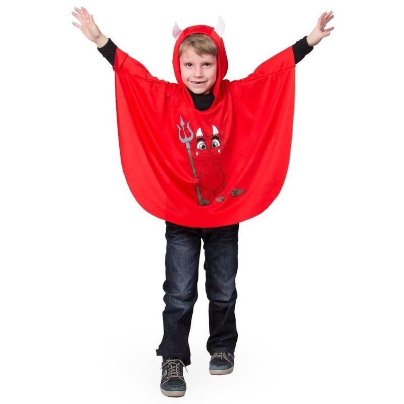 Merkloos Rode duivel verkleed cape voor kinderen