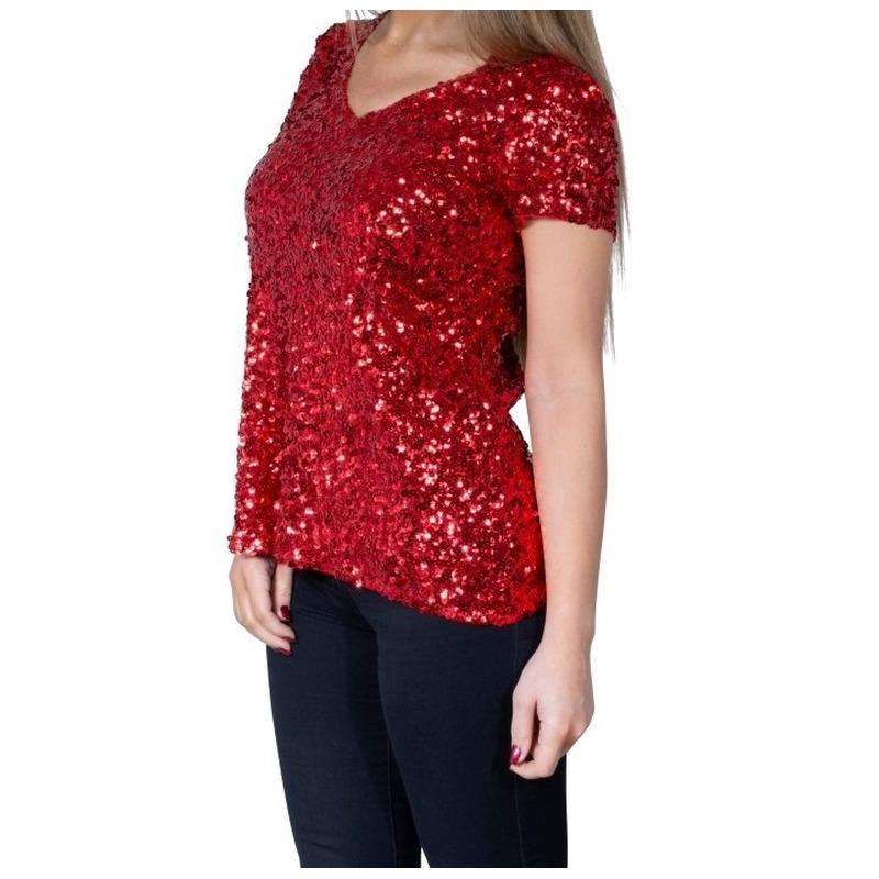Rode glitter pailletten disco shirt dames