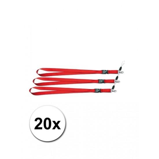 Rode lanyards 20 stuks