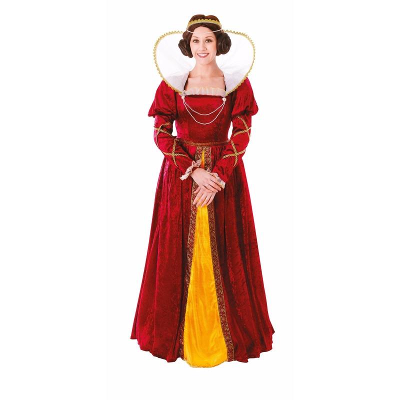 Rode middeleeuwse koningin verkleedjurk voor dames