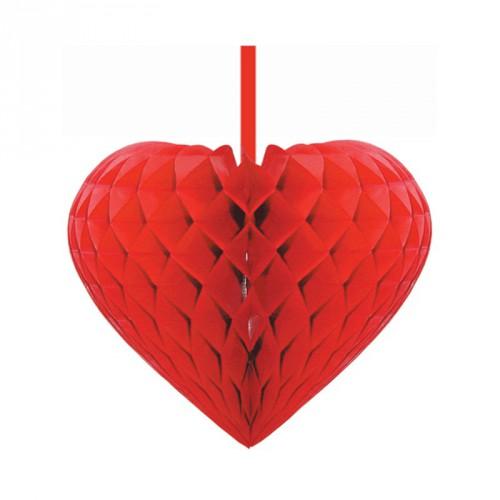 Rode papieren hart 15 cm
