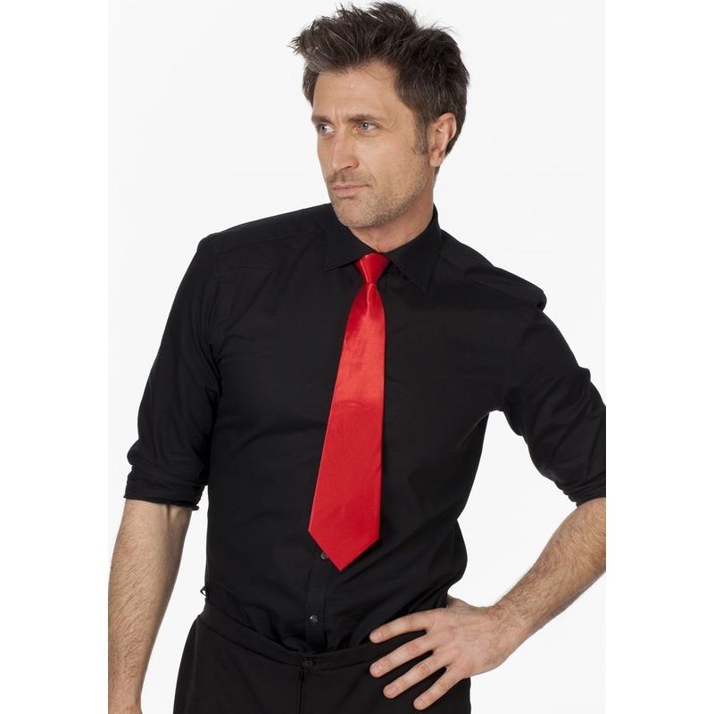 Rode stropdas 41 cm verkleedaccessoire voor dames/heren
