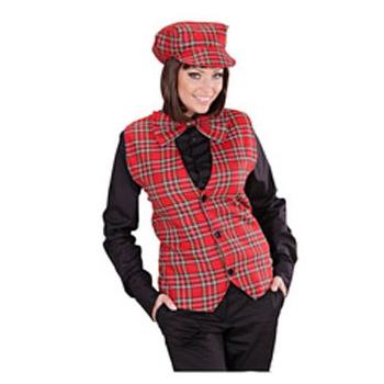 Rode tartan gilet voor dames Schotse ruit